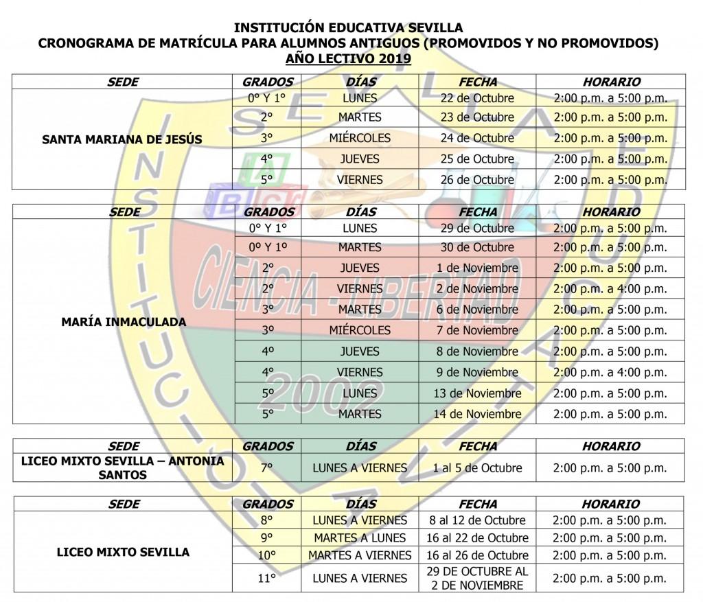 cronograma de matriculas SEDES 2019-2